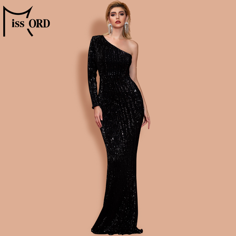 Missord 2020 Womem Irregular Neck Off Shoulder One Sleeve Dresses Female Elegant Sequin Bodycon Maxi Dress  FT20224-2