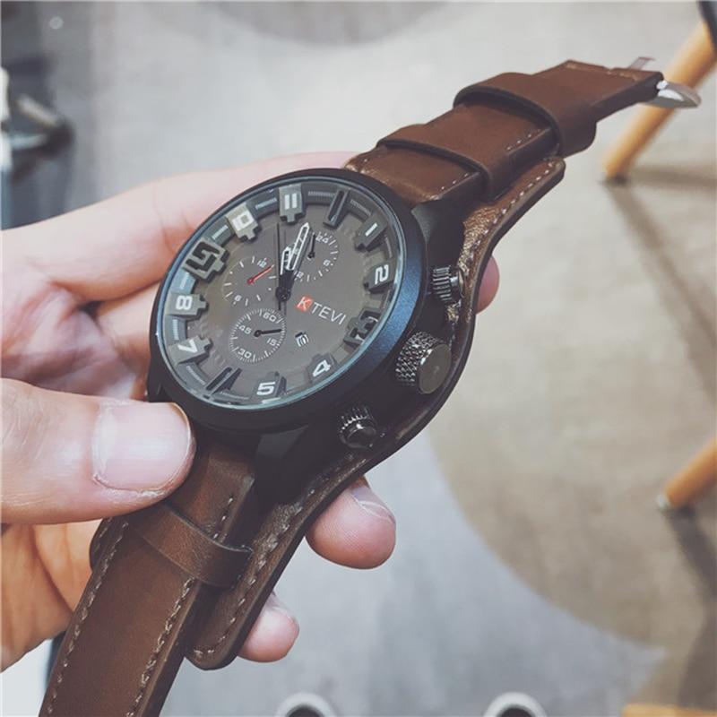Quartz Watches Men Top Brand Luxury Watch Clocks Date Sport Military Clock Leather Strap Men Wristwatch Gift For Male Relogio