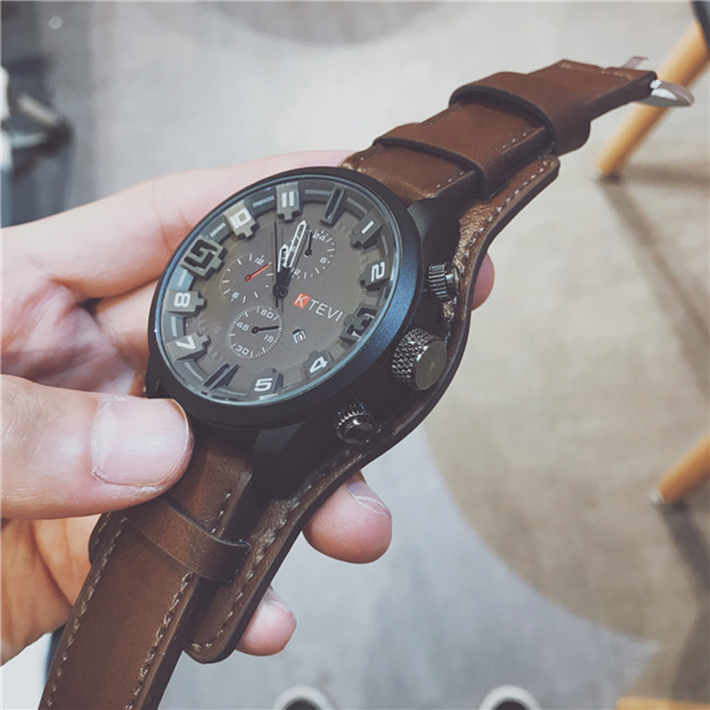 Quartz Watches Men Top Brand Luxury Watch Clocks Date Sport Military Clock Leather Strap Men Wristwatch Gift For Male Relogio