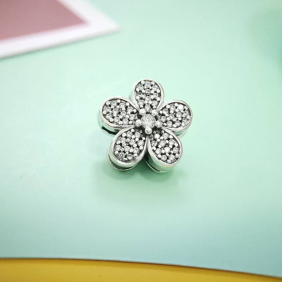 925 Sterling Silver Charms For Bracelet Making Flowers Sparkling CZ Original Reflection Fit Original Pandora Jewelry Hot Sale