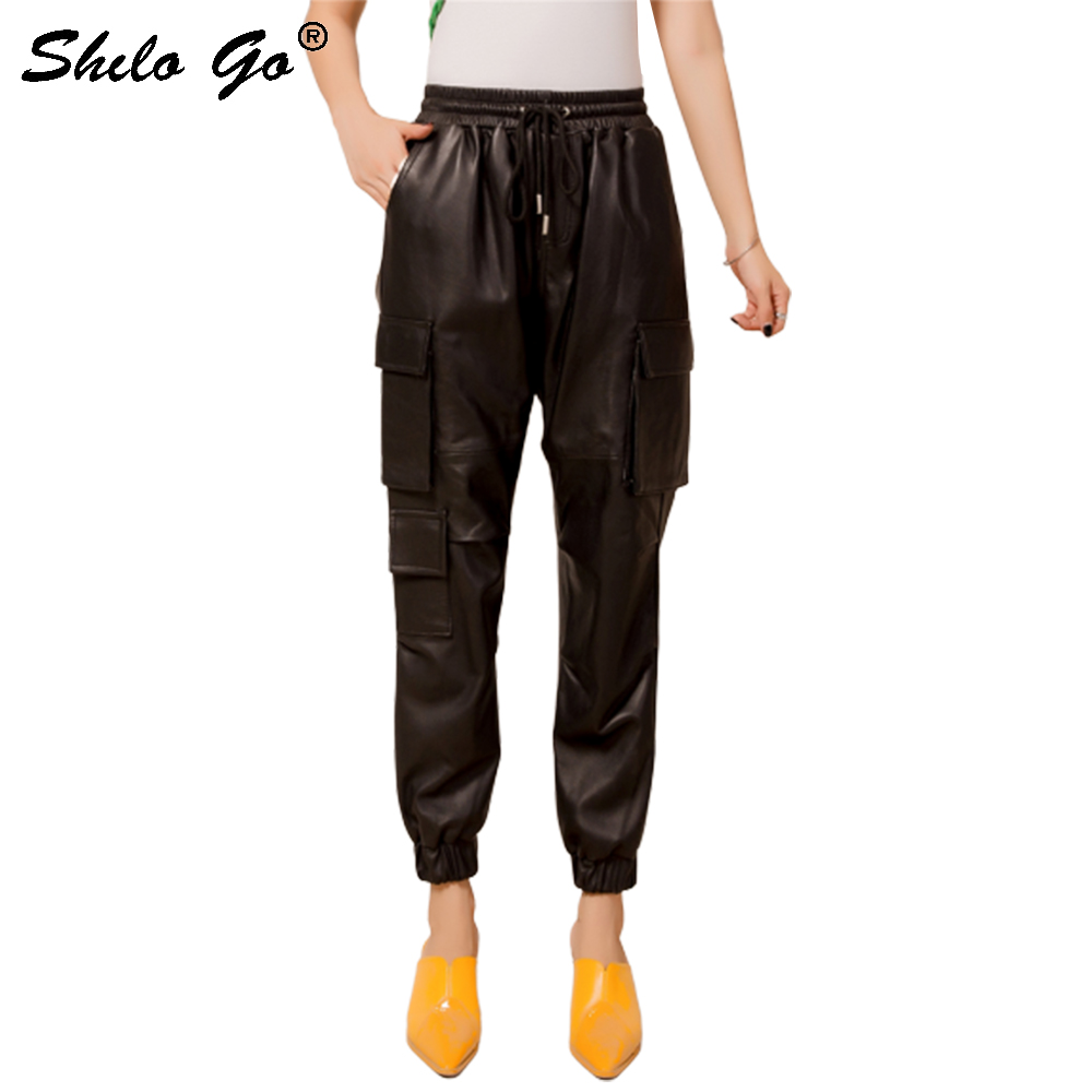 Genuine Leather Pants Safari Style Drawstring Waist Pocket Side Sheepskin Harem Pants Women Autumn Winter Black Casual Trousers