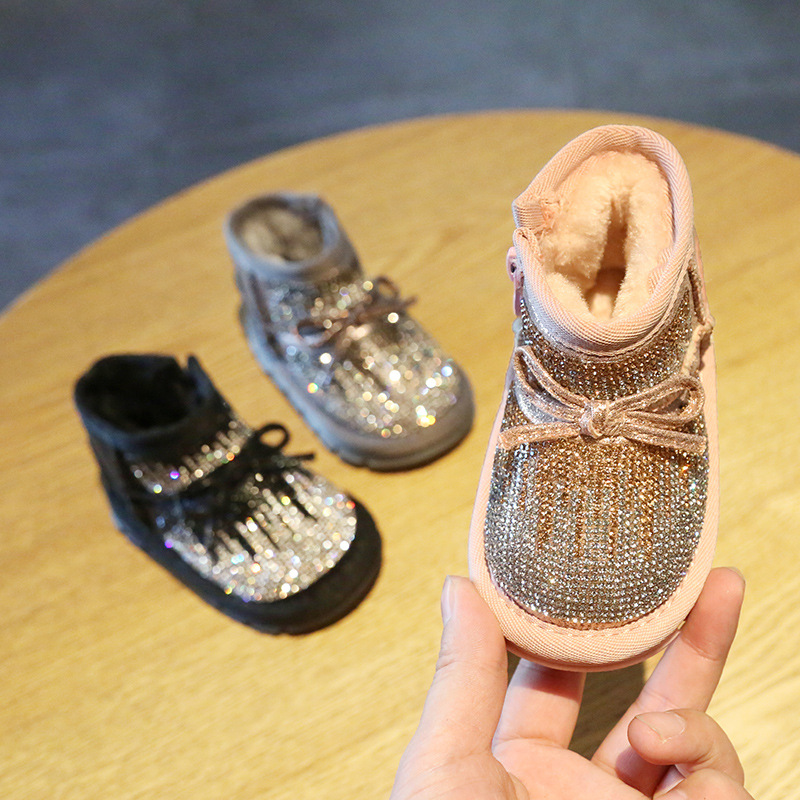 Baby Girl Rhinestone Toddler Shoes Winter 0-3 Years Old Soft Bottom Non-slip Toddler Baby Crystal  Warm Shoes Snow Boots