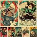 Постер из аниме «рассекающий демонов», винтажные постеры из крафт-бумаги в стиле аниме «no Yaiba Tanjirou Nezuko» для дома и комнаты