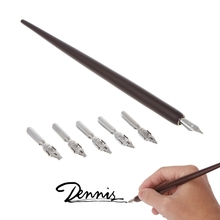 Wood English Calligraphy Pen Copperplate Script Oblique Dip Pen Holder + 5 Nib  MOLB