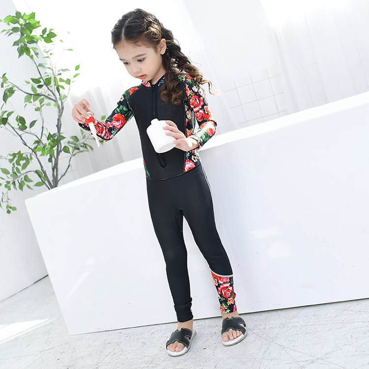 2018 New Style KID'S Swimwear GIRL'S Korean-style Floral-Print Long Sleeve Trousers One-piece Children Diving Suit Boy Tour Bath