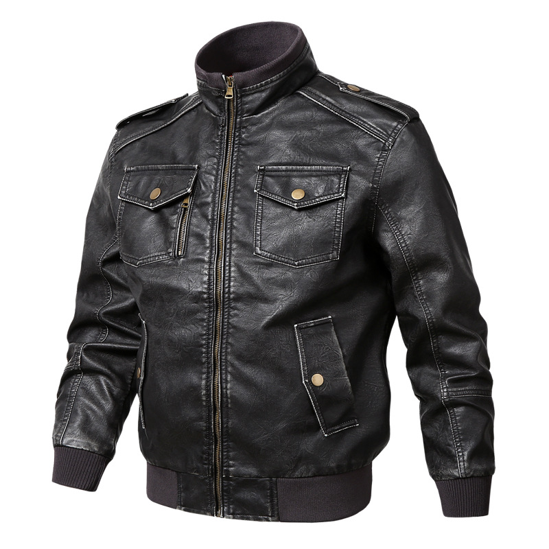 Men Pilot Leather Jacket Spring Autumn Casual Stand Collar Luxury Coats Multi-Pocket Bomber Motorcycle PU Faux Leather Jackets