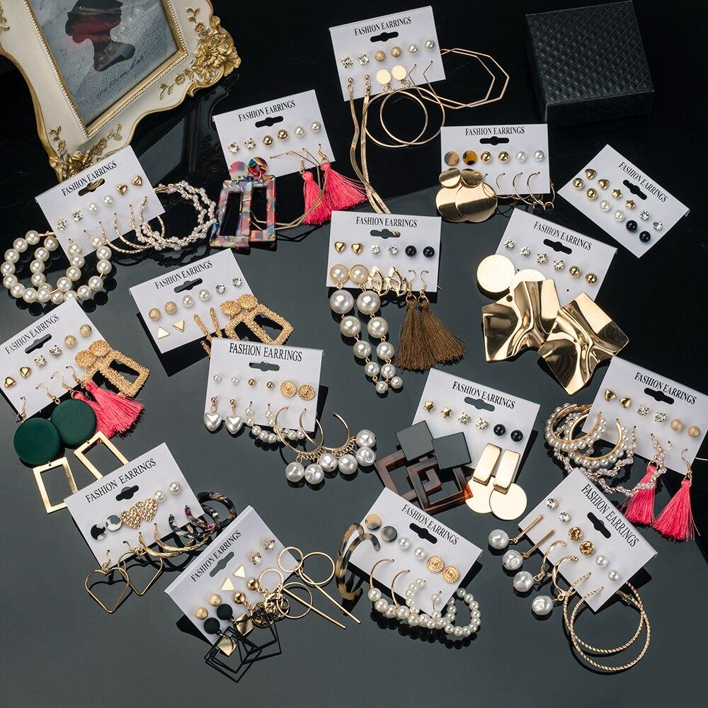 X&P Vintage Tassel Acrylic Earrings Bohemian Statement Earrings Set Dangle Drop Earing For Women 2020 Brincos Fashion Jewelry