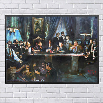 Last Supper for Scarface Godfather and Other Gansters Printed on Canvas 1