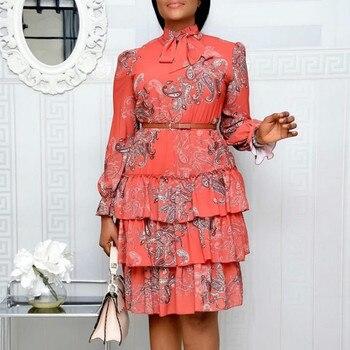Women Printed Dresses Long Sleeves Bowtie Cake Dress Female Ruffles Pleated Africn Fashion Lovely Date Sweet Vestidos Plus Size
