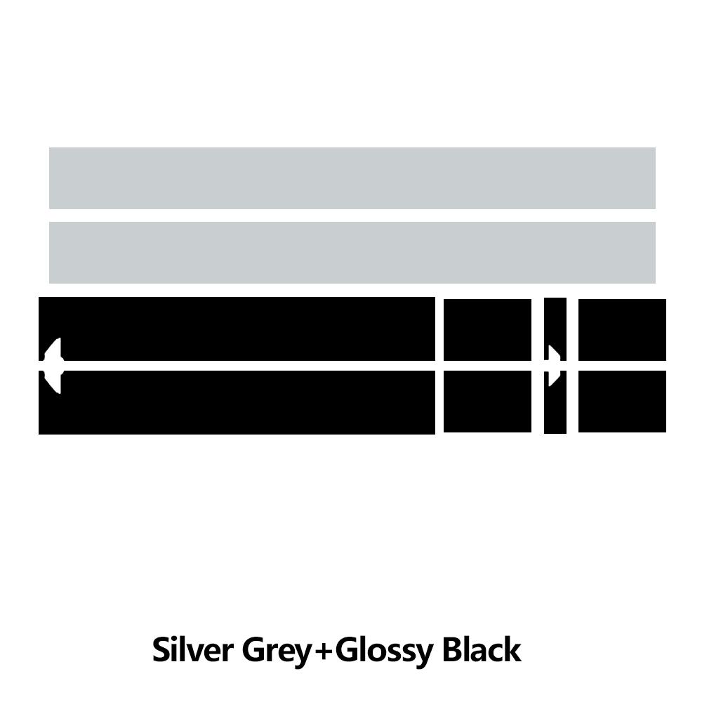 Наклейка на капот автомобиля капот полосы крыши задняя крышка двигателя стикер для мини-купе R58 Cooper S JCW Джон Купер работает аксессуары - Название цвета: silvergrey  KK black