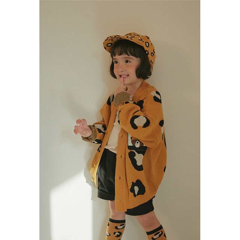 Kids Sweater Girl Leopard Clothes Overall Boys Coat Matching Children Korean Brand New Autumn Winter Clothes Knitted Overalls 6