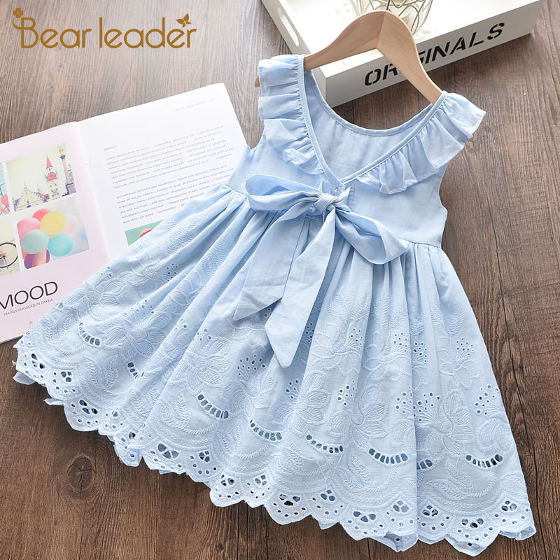 Bear Leader Girls Pretty Dresses New Summer Kids Fashion Solid Dresses Girl Bow-knot Party Outfits Kids Vestidos Children Suits