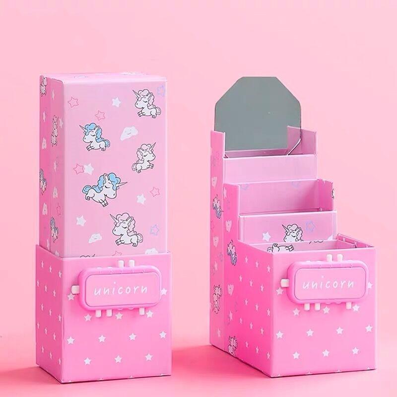 2020 Sharkbang Newest Kawaii Unicorn Magic Folding Transformed Pencil Case Stand Pen Holder Desk Storage Box School Stationery