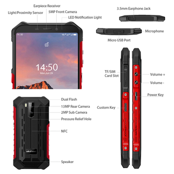 Ulefone Armor X5 Pro Rugged Waterproof Smartphone 4GB+64GB Android 10.0 Cell Phone NFC 4G LTE Mobile Phone 4