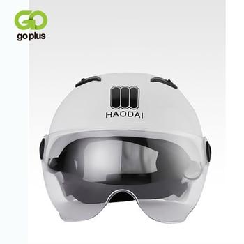 Goplus capacetes da motocicleta ciclismo capacete de bicicleta elétrica motocross meia lente capacete viseiras das mulheres dos homens scooter moto capacete 1