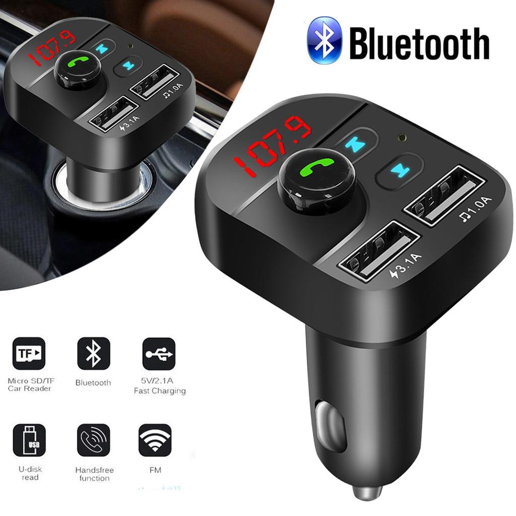 Беспроводной автомобильный комплект громкой связи Bluetooth FM-трансмиттер MP3-плеер двойное зарядное устройство USB автомобильный простая автомо...