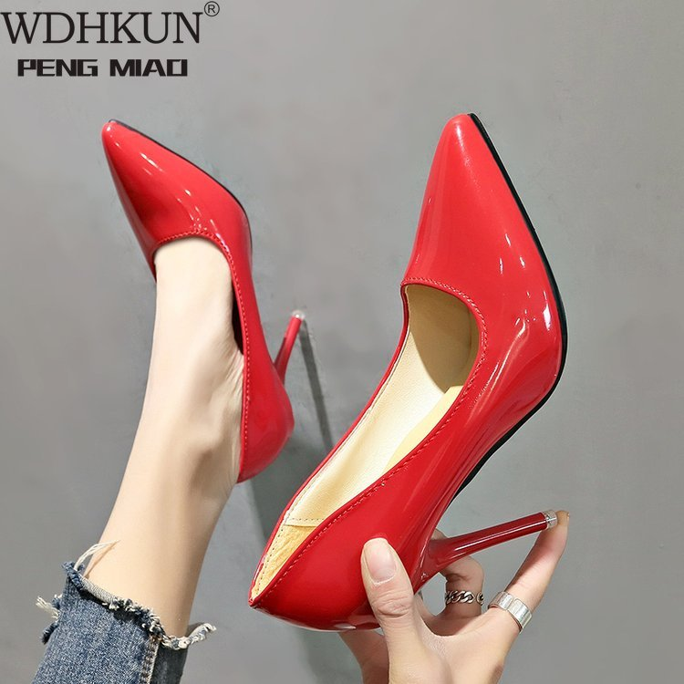 Hot Women Shoes Pointed Toe Pumps Patent Leather Dress High Heels Boat Wedding Red Wedding