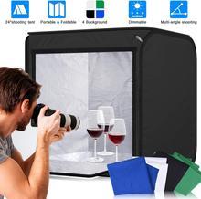 Zuochen photo studio cubo tenda softbox portátil 40 cm/60 cm pode ser escurecido estúdio de fotografia dobrável 55 w led com 4 algodão backdrops