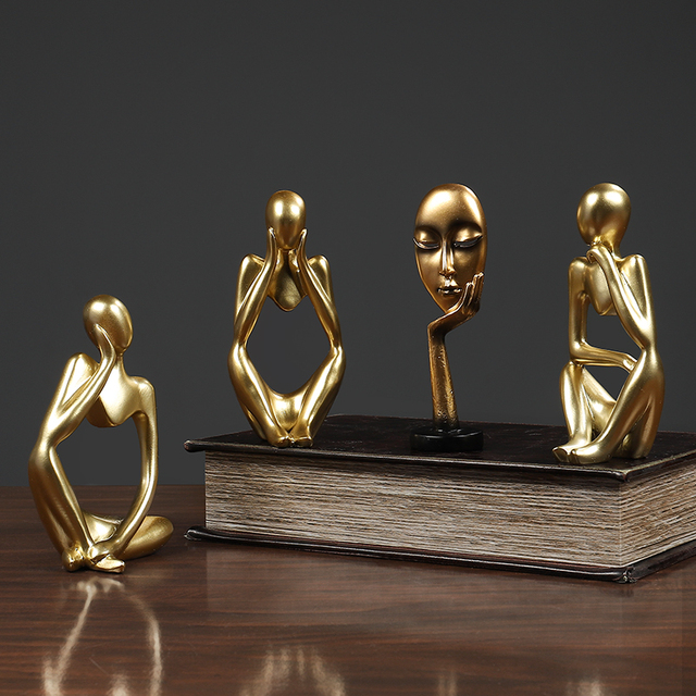 Thinker Statue Abstract Figure Sculpture Small Ornaments Resin Statue Home Crafts Home Decoration Modern Figurines For Interior 3