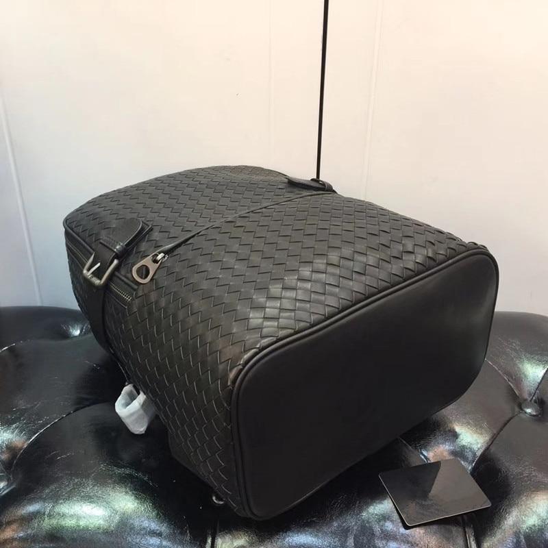 Kaisiludi duplex couro tecido bolsa de viagem camada superior pneu mochila de couro senhoras casal pacote sacos de computador volumoso - 6