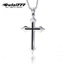 oulai777 2019 stainless steel cross mens necklace pendant chain women choker male men accessories necklaces & pendants jewelry
