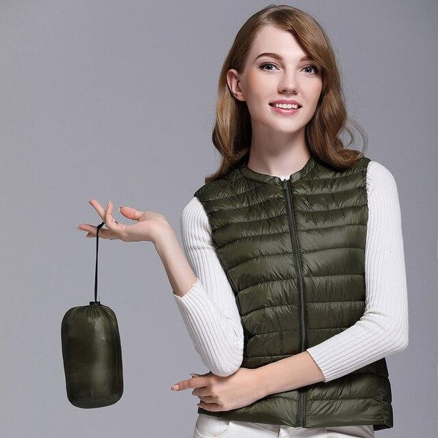 Fitaylor New Women 90% White Duck Down Vest Women Ultra Light Duck Down Vest Jacket Autumn Winter Round Collar Sleeveless Coat 3