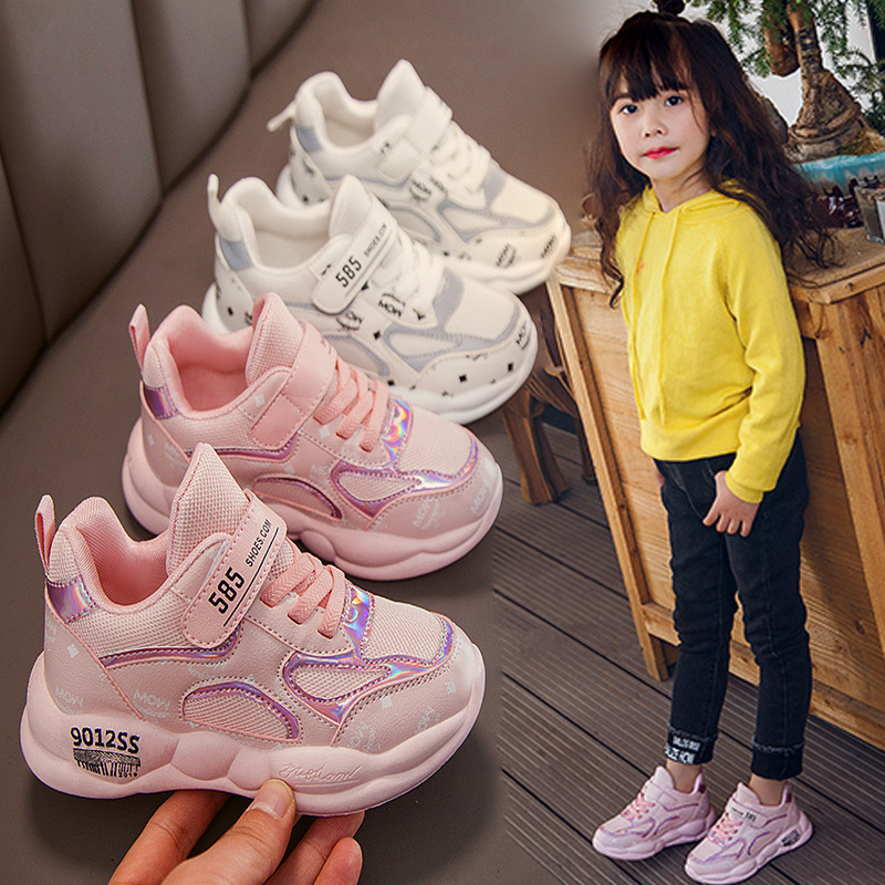 EU26-37 2020 New Children Sport Shoes Big Girls Running Shoes Kids Casual Shoes Fashion Sneakers White Pink Color