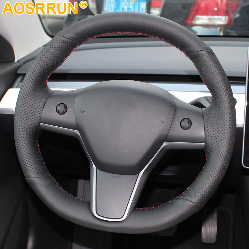 Hand-stitched Black Artificial Leather Car Steering Wheel Cover For Tesla Model 3 BlueStar 2017 2018 2019 Car Accessories title=