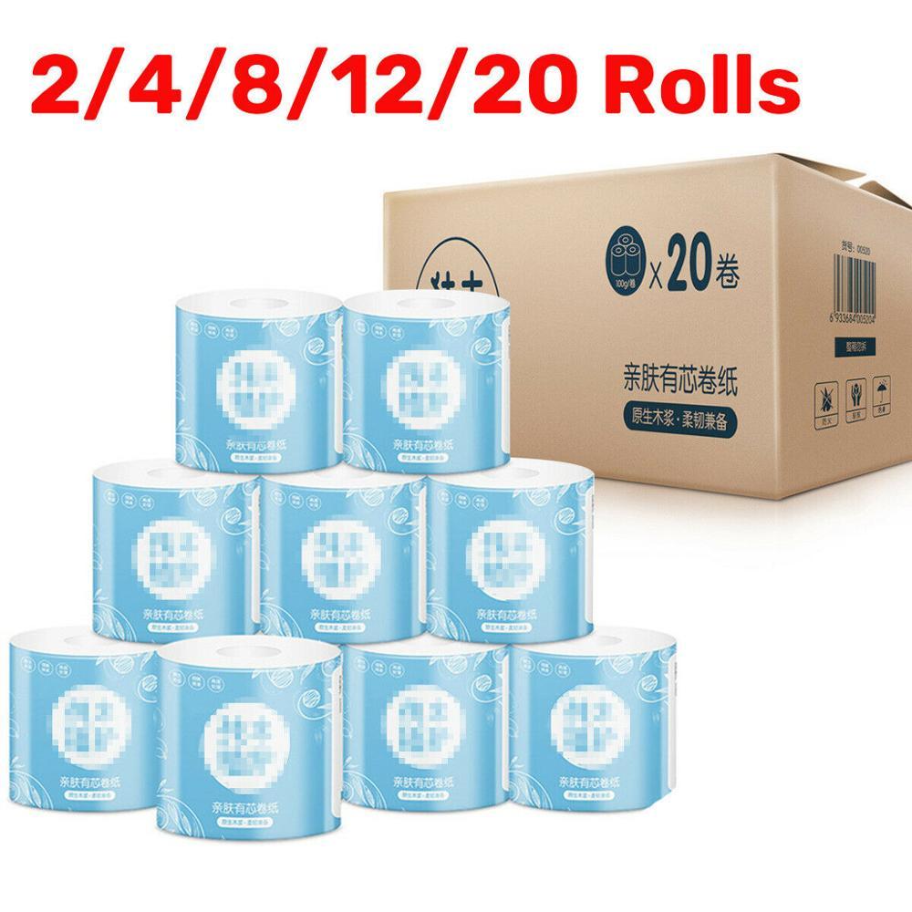 4 Ply 1-20 Rolls Toilet Paper Bulk Rolls Bath Tissue Paper Household Bathroom Roll Paper