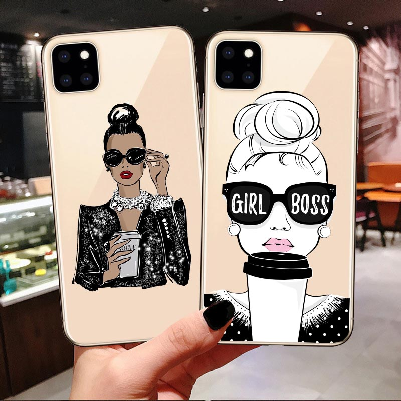 Fashion Queen Boss Gir Mom Baby Silicone Case Coque For Iphone 7 8 Plus X XS Max XR Summer Travel Cover For Iphone 11 Pro Max