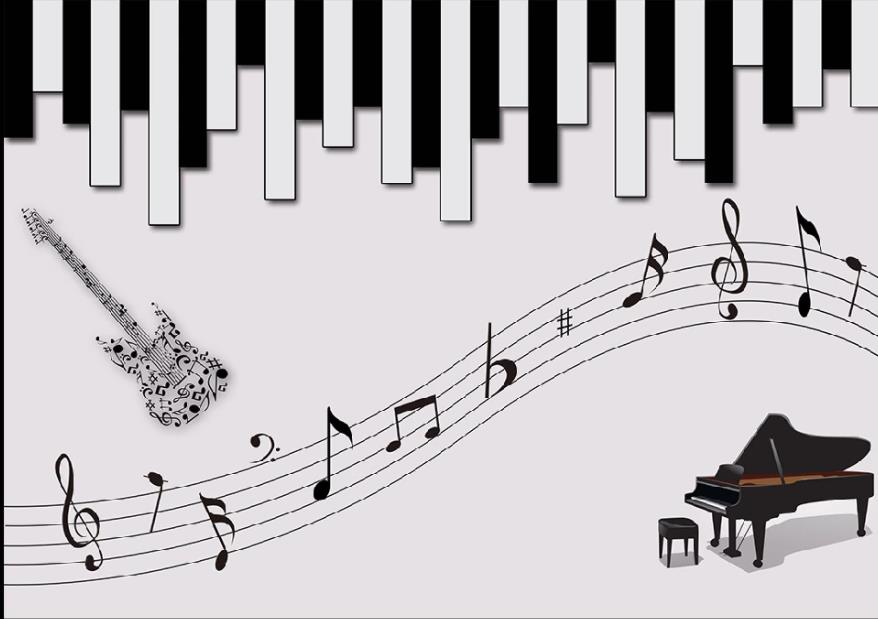 Wallpaper For Walls 3 D For Living Room 3d Music Mural Piano Guitar Staff Background Wall Wallpapers Aliexpress