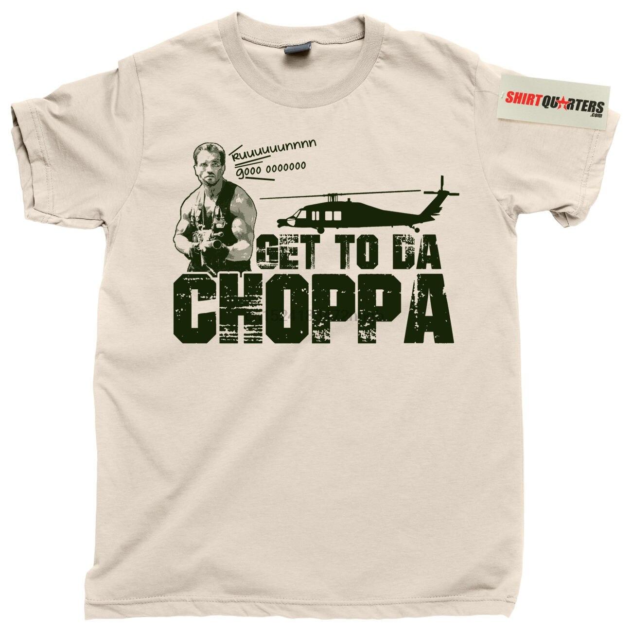 Get to Da Choppa Short Sleeve Baseball T-Shirt Predator film Arnie 80/'s sci fi