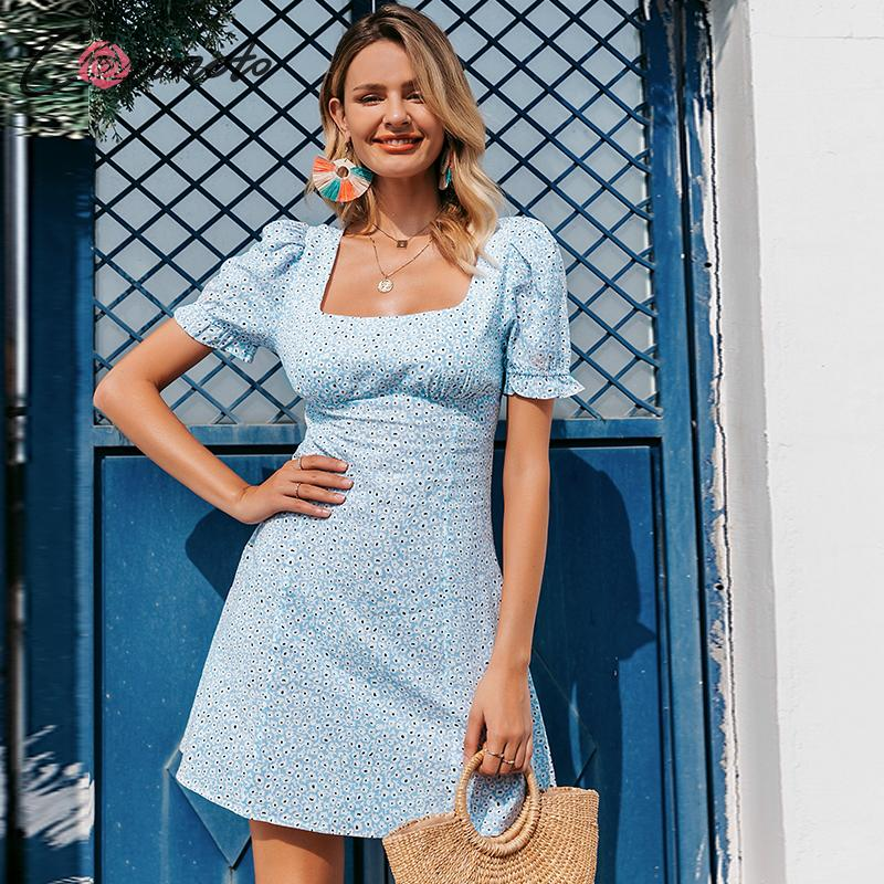 Conmoto Casual Ruffles Vintage Summer Dress Women Short Blue Beach Dresses Ladies Square Collar Puff Floral Dress Vestidos
