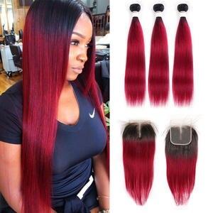 SOKU Human-Hair-Bundles Closure Non-Remy-Hair Straight Ombre Brazilian with 4x4 T1b/burgundy