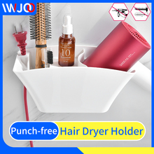 купить Hair Dryer Holder Wall Mounted Hair Dryer Rack Storage Shelves Plastic Hairdryer Hanger White Bathroom Shelf Adhesive Storage дешево