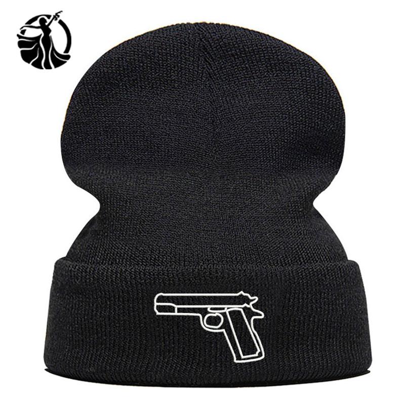 Beanie Hat Skullie Cap Slouchy Winter Embroidered Cool Punk Men Women Teen Street Dance Funny Hip-hop Warm Knitted Hats Gun