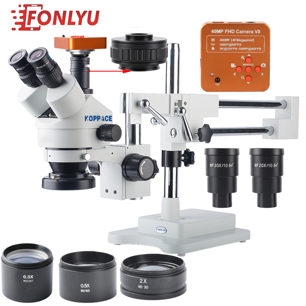 KOPPACE 40 MP,2.1X-180X Microscope,60FPS,HDMI Industry Microscope Camera,Mobile Phone Repair Microscope,144 LED Ring Light.