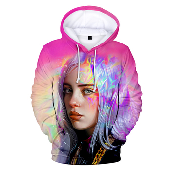Sudadera con capucha estampada en 3D de Billie eilish, sudadera de invierno kpop, sudadera de Billie eilish, ropa de calle harajuku