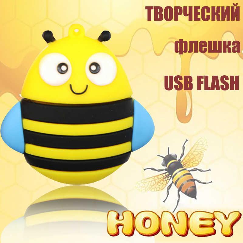 USB dos desenhos animados Flash Drive Asseclas Pen Drive 128 GB/64 GB/32 GB/16G Cle USB stick Memoria USB Chave Pendrive Animado Fox/Abelha/Pinguim/Coruja
