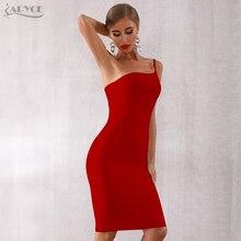ADYCE 2020 New Summer One Shoulder Bandage Dress Women Sexy Black Spaghetti Strap Midi Celebrity Evening Party Dresses Vestidos