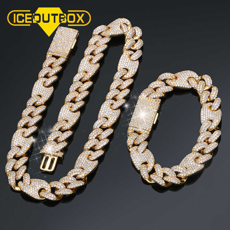 Iced Out Cuban Full Of Crystal Necklace Bracelet Set Rock Style Luxury Men Hip Hop Jewelry Top Quality With Gift Box Dropshiping