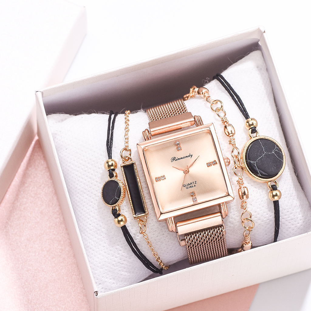 5PCS Watches Women Square Rose Gold Magnetic Wrist Watches Fashion Brand Ladies Watches Female Women Quartz Clock Montre Femme
