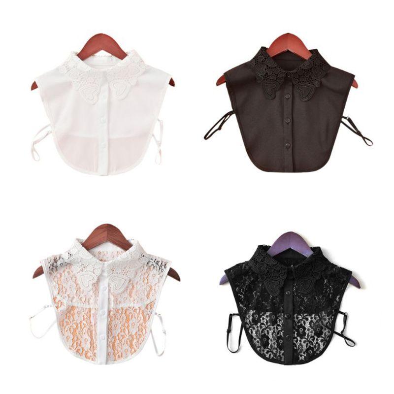 Модная женская простая рубашка чистого цвета, хлопковые кружевные цветочные накладные воротники, вышивка с блестками, съемные
