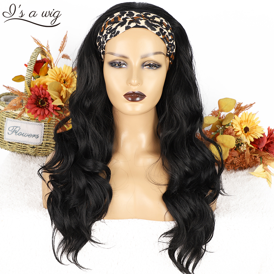I's a wig Headband Wigs for Black Women Long Wavy Black Synthetic Headwraps Hair Wig Heat Resistant Glueless Daily Use Hairs