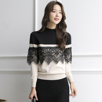 Autumn Winter New Lace Patchwork Color Block Pullovers Turtleneck Sweater Women Long Sleeves Feminino Loose Jumper Knitted Tops