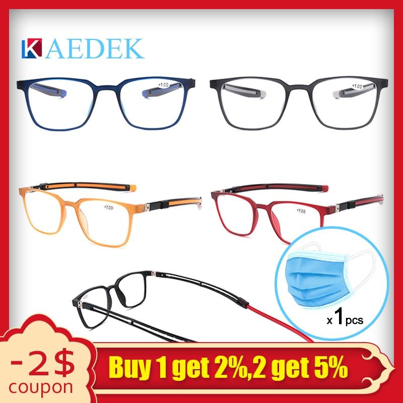 New Unisex Adjustable Hanging Neck Eyewear Folding Magnet Front Reading Glasses Woman Men Computer Presbyopic Glass KR1516