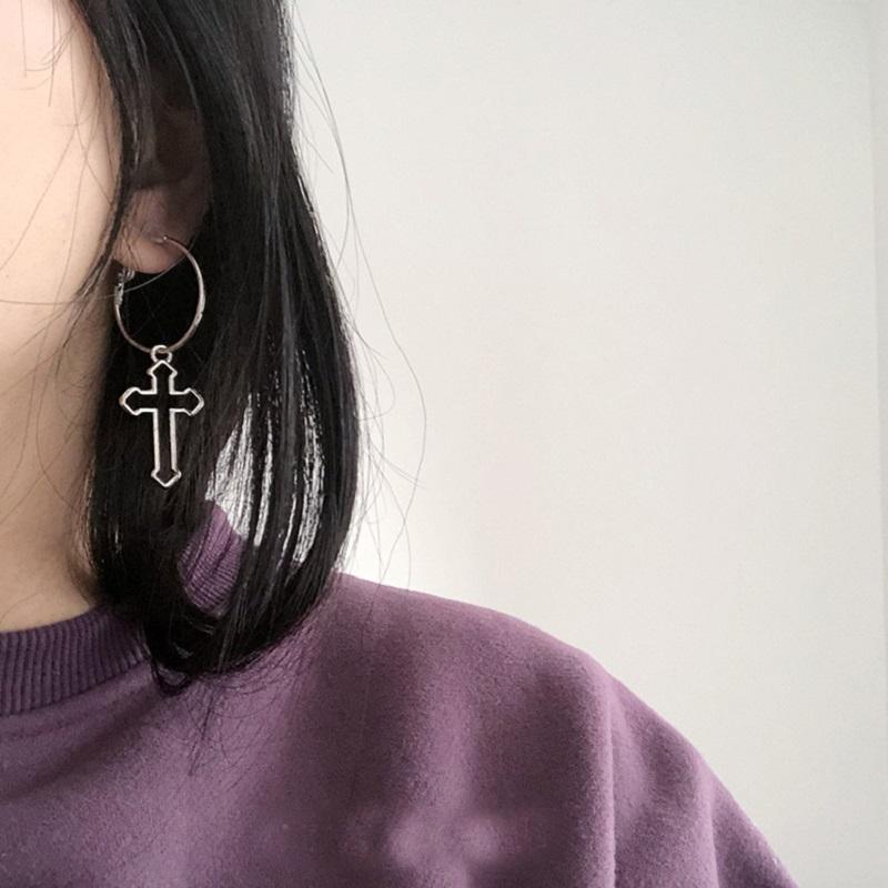 Punk Hollow Cross Pendant Dangle Earrings For Women Minimalist Silver Color Round Circle Drop Dangle Earring Ear Jewelry Gifts