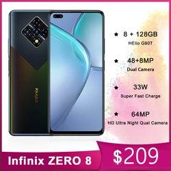 Infinix ноль 8 смартфонов 6,85 Inch 8 Гб Оперативная память 128 Гб 64MP смарт мобильный телефон задняя Quad Камера Helio G90T 33 Вт супер зарядки Android