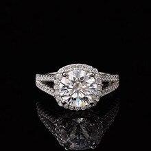 ring silver sterling 925 real moissanite2.00ct D VVS GRA certificate rings wedding