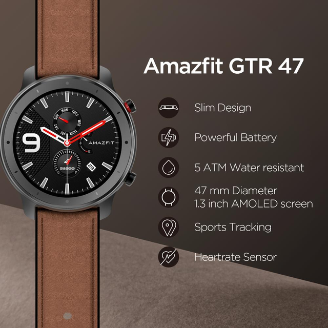Amazfit GTR 47mm Smart Watch Global Version In Stock GPS In-Build 410mAh Battery 5ATM Waterproof Leather Silicon Strap 2